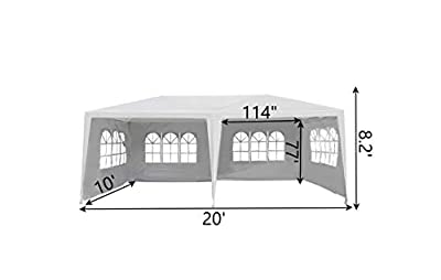 Outsunny 10' x 20' Gazebo Canopy Tent with 4 Removable Window Side Walls - White