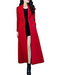 women red charming wool jacket Long Trench Coat Woolen coat