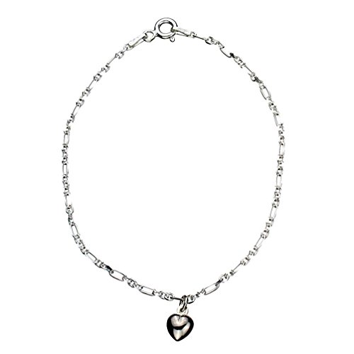 (Sterling Silver Heart Charm Anklet Italy, 9.5