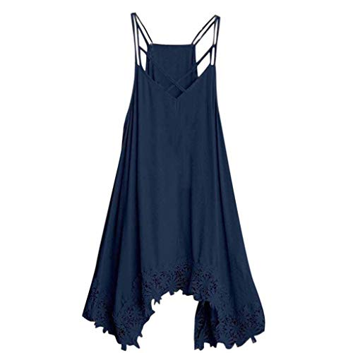(Mysky Summer Women Popular Sexy Criss Cross Off The Shoulder Floral Hollow Out Hem Pure Color Sling Mini Dress Navy)