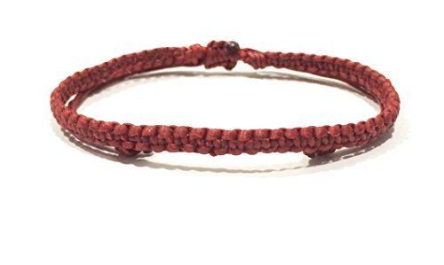 (Unisex Macrame Wax Cotton Plaited Weave Handmade Thai Wristband Handcrafted Wristwear Bracelet)