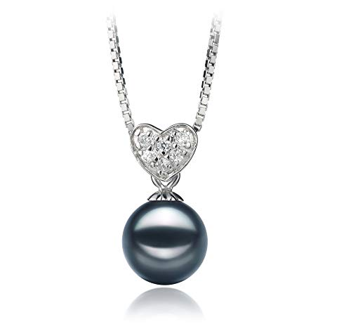 Randy Black 7-8mm AA Quality Japanese Akoya 925 Sterling Silver Cultured Pearl Pendant For Women ()