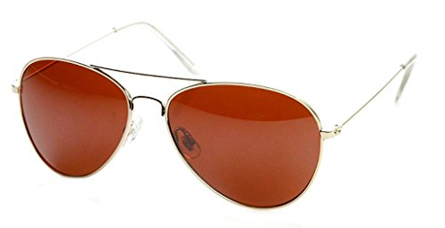 (WebDeals - Aviator Silver Mirror or Color Mirror Metal Frame Sunglasses (Gold, Amber Blue Block) )
