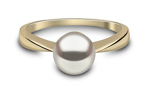 Kimura 7 mm Cultured White Freshwater Pearl Ring 9 ct Yellow Gold Size N