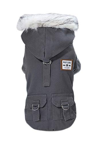 Trudz Pet Dog Hoodies, Work Clothes, Thickened Dog Overall, Dog Military Uniform, Army Hoodie Sweater, Cotton Jacket Fur Coat for Small Dog & Medium Dog & Cat (Grey,M)