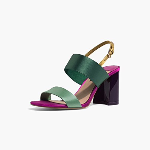 WANGXIAOLIN Purple Thick Thick Thick With Stitching High-heeled Sandal Heel Height: 8CM ( Size : 35 ) B07CHMBNXX Shoes 49eee0