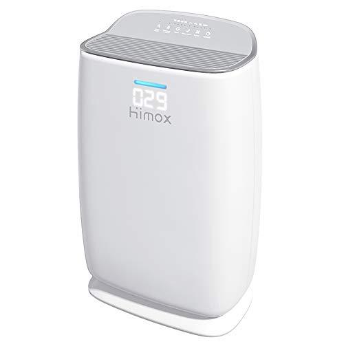 Smart Purificador Aire HEPA H13 hasta 57㎡/h, HIMOX Purificador de Aire con Filtro HEPA, Mostrar Calidad Aire, Modo de…