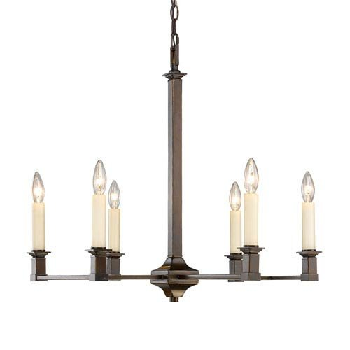 Golden Lighting 5907-6 CDB Six Light Chandelier Bronze
