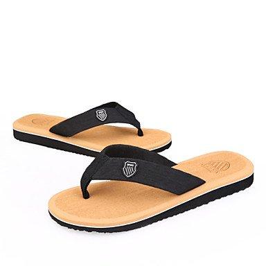Sandalias de verano zapatos de hombre exterior / Casual Flip-Flops algodón negro / marrón / gris Negro