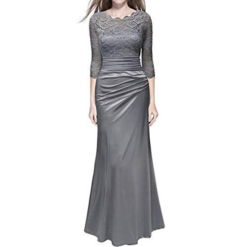 Ulanda Women's Retro Floral Lace Formal Dresses 2/3 Sleeve Elegant Slim Long Dress Party Wedding Maxi Dress Grey