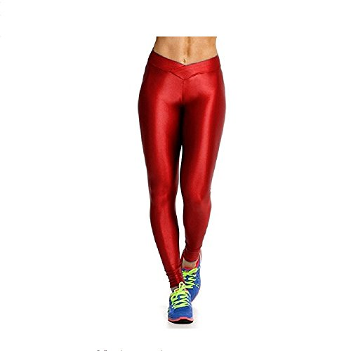 Hupplle Fashion Neon Stretch Skinny Shiny Spandex Leggings Pants (Red, Large) ()