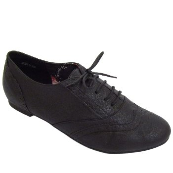 6b9713442ae Ladies Black Lace-Up Flat Oxford Brogue Pumps Womens Shoes  Amazon.co.uk   Shoes   Bags
