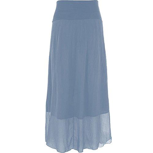 Mesdames Femmes italienne Lagenlook Plaine soie Maxi jupe longue Bleu