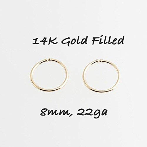Tiny Hoop Earrings, Cartilage Gold, Tragus Gold tiny Hoops, Handmade Hoops, Small and thin Earlobes, Gift for Her, 8mm ()