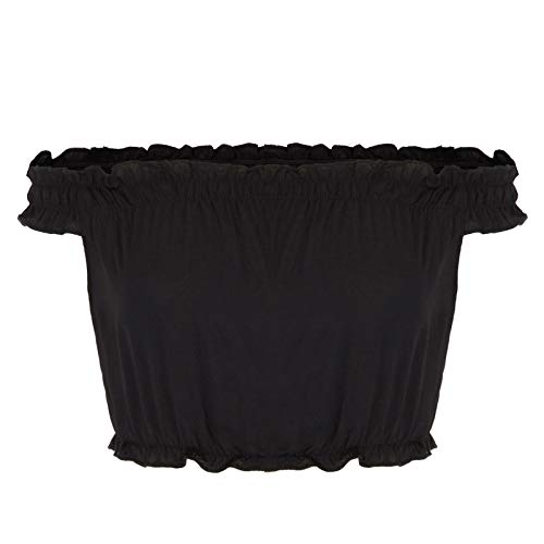 Kate Kasin Womens Off Shoulder Sexy Short Sleeve Crop Top Blouse,Black,S