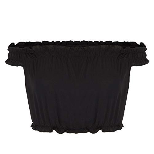 - Kate Kasin Womens Off Shoulder Sexy Short Sleeve Crop Top Blouse,Black,S