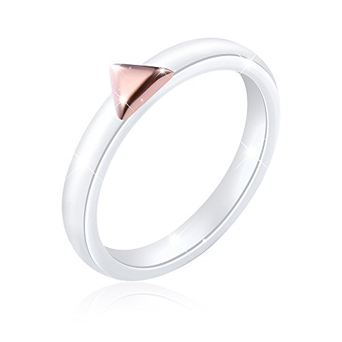 SILVER MOUNTAIN White Ceramic S925 Sterling Silver Ring for Women Wedding Engagement Rings (Rose, 8) by SILVER MOUNTAIN