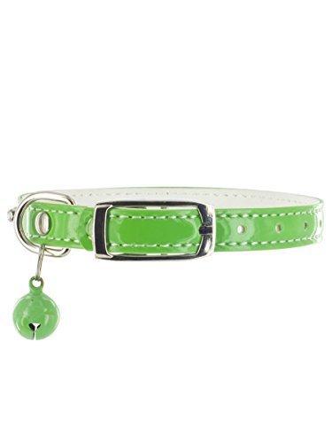 "Kakadu Pet Hollywood Rhinestone Dog or Cat Collar with Bell, 3/8"" x 12"", Green"