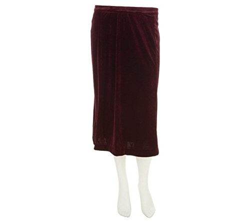 Bob Mackie Stretch Velvet Lined Mid Length Pull-On Skirt, Plum, L