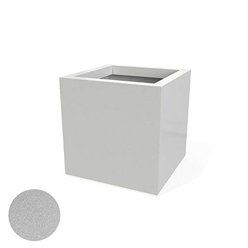Voyager Commercial Grade Large Fiberglass Outdoor Planter w/Drainage Hole, by Greenline   Clean Modern Square Cube…