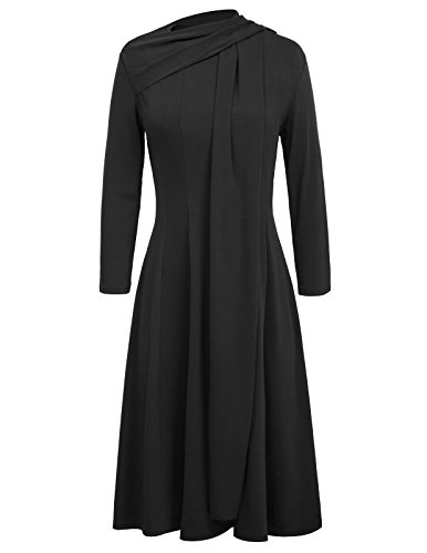 Black A-line Dress (Grace Karin Elegant Tie Neck Autumn Midi Dress Long Sleeve Size M Black)