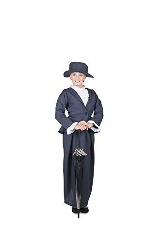 Kids English Nanny Costume, British Magical Nanny Halloween Set, Blue, M