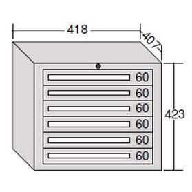 OS(大阪製罐) ミゼットキャビネット 6段 ライトグレー M6-2G B007R14K0G