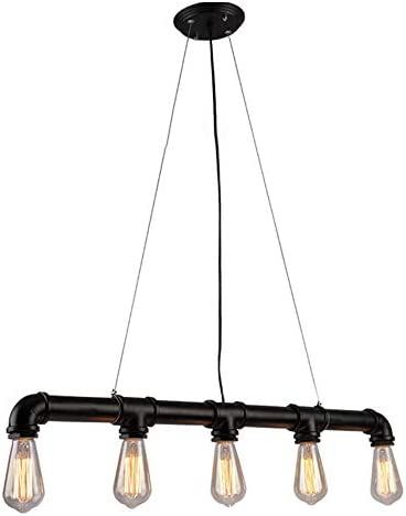 Eapmic 5-Light Vintage Industrial Personality Chandelier Iron Metal Water Pipe Shaped Hanging Drop Bar Decoration DIY Ceiling Lights Pendant Lamps Holder Fixture