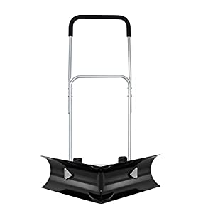 Goplus Dual Angle Rolling Snow Pusher, Heavy Duty Snow Shovel with 6-inch Anti-Skid Wheels, Wheeled Snow Removal Tool…