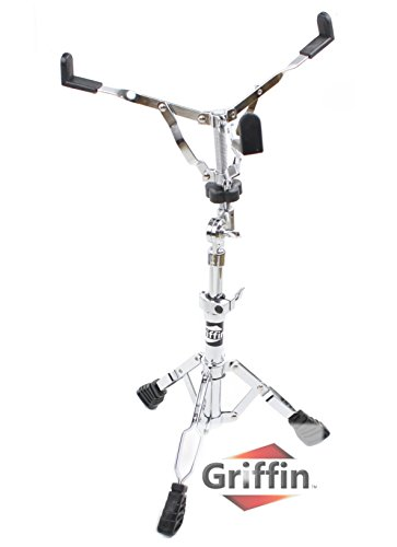 Deluxe Snare Drum Stand by Griffin |Percussion Hardware Kit with Key|Double Braced, Medium Weight Mount for Snare and Tom Drum | Adjustable Height and Convenient Tilting Gear Clamp Style Basket Holder