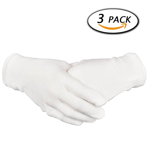 Price comparison product image Paxcoo 3 Pairs White Cotton Gloves for Dry Hand Cosmetic Moisturizing Coin Jewelry Inspection Spa – Large Size