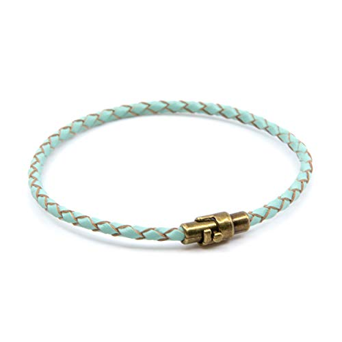 Lobo Verde Handmade Single Wrap Braided Leather Bracelet with Magnetic Copper Clasp (Turquoise, 6)