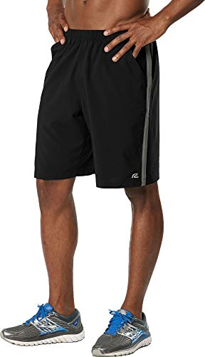 R-Gear Men's Long Gone 9-inch Running Athletic Shorts with Pockets and Brief Liner, Black/Steel,M (9 In Running Shorts)