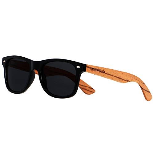 Wood Sunglasses Polarized for Men Women Uv Protection Wooden Bamboo Frame Mirror Sun Glasses ()