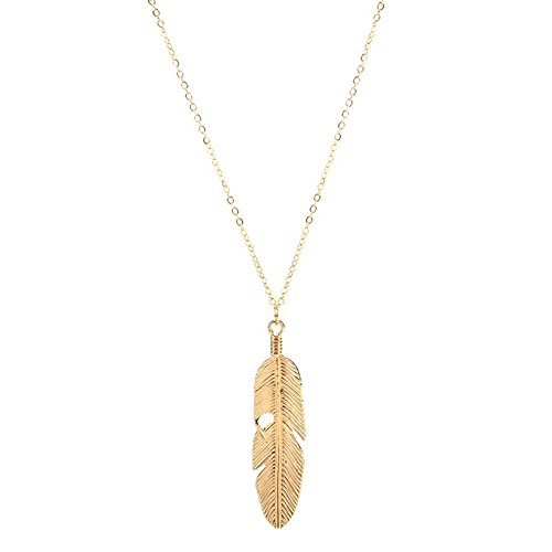 (dwcly Simple Leaf Feather Pendant Necklace Long Chain for Women Girls Fashion Jewelry)
