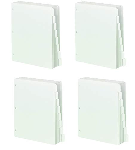 Smead Three-Ring Binder Index Dividers, 1/8-Cut Tab, Letter Size, White, 96 per Box (89418) (Pack of 4)
