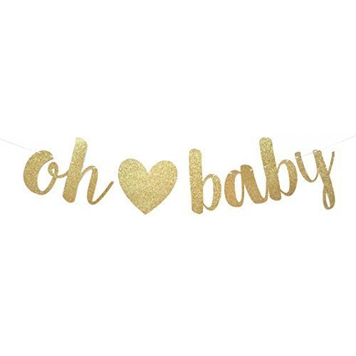 CC Party Co. OH BABY Gold Glitter Baby Shower Banner with Removable Heart on Gold Twine | baby shower pregnancy announcement | gender reveal party decorations | neutral boy girl sprinkle]()