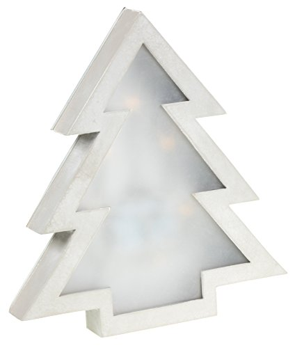Wooden Christmas Tree Wall Hanging Decoration with Diffused LED Lighting | Classic Silver Christmas Theme | Premium Wooden Design | Measures 8.75
