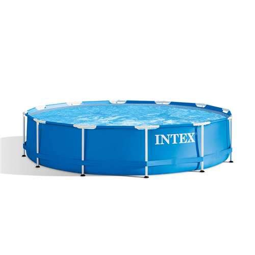 Intex 12 Foot x 30 Inches Metal Frame 1718 Gallon Capacity Above Ground Pool ()