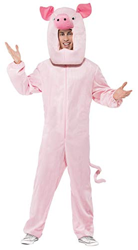 Smiffy's Men's Pig Costume Bodysuit and Hood, Pink One -