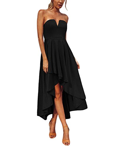 Luyeess Women's High Low Strapless Bandeau Back Self Tie Skater Party Dress