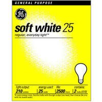 General Electric Ge Soft White Light Bulbs 25 W 210 Lumens A19 Med Base 4-1/4 In. Pack / 2