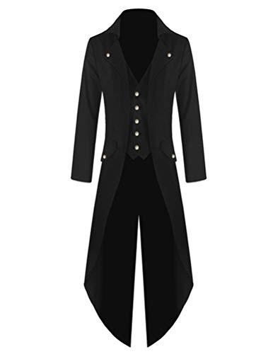 Steampunk Veste Slim Homme Fit Costume Noir Tailcoat Manteau Robo Mariage Déguisement Gothique Uniforme qwCE4A4