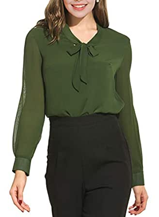 Oyamiki Womens Bow Tie Neck Long/Short Sleeve Casual Office Work Chiffon Blouse Shirts Tops Army Green/S