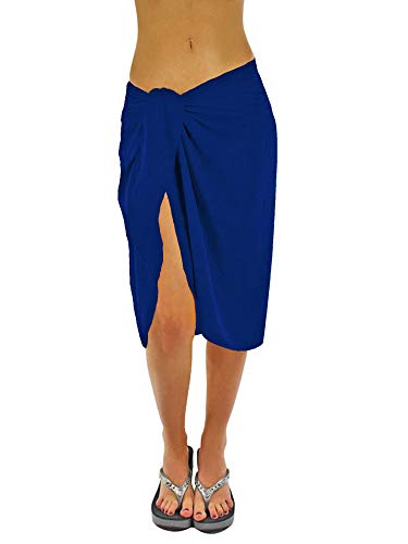 Luxury Divas Sheer Island Blue Knee Length Cover Up Sarong Wrap for Women