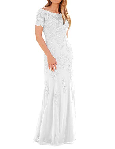 Evening The Formal Dress Bride Lace Size Tulle Gown Mother Plus of with Sleeves White IqXwnC