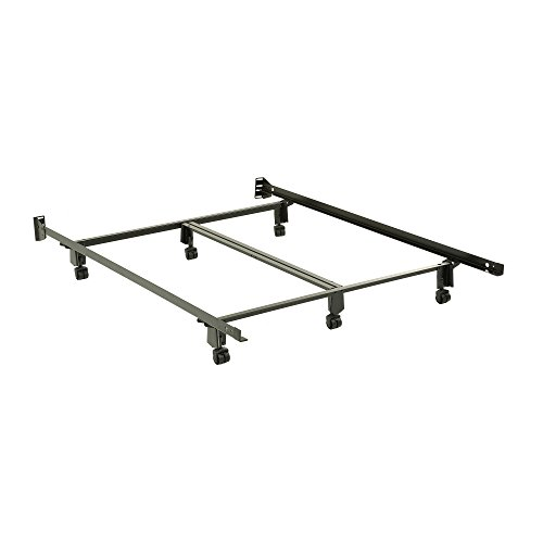 Leggett & Platt Inst-A-Matic Premium Bed Frame 761R with Headboard Brackets and (6) 2-Inch Locking Rug Roller Legs, Black Finish, Queen (Instamatic Bed Frame)