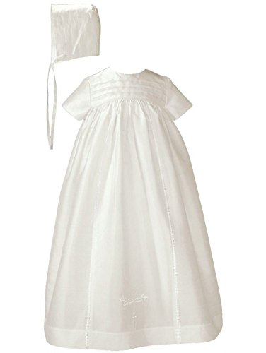 Little Things Mean A Lot Baby Girls Off White Silk Dupioni Bonnet Slip Christening Gown 6-12M