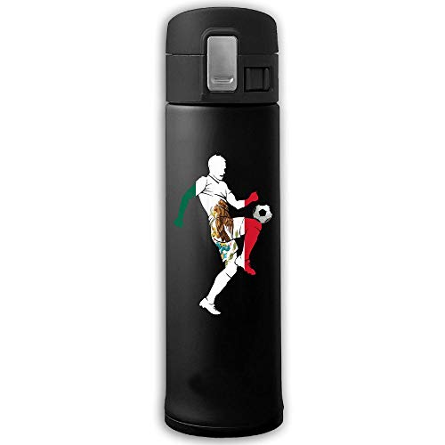 13 Oz Stainless Steel Insulated Vacuum Coffee Mug Strong Sealing Scald Proof Soccer Player With Mexico Flag Water Kettle