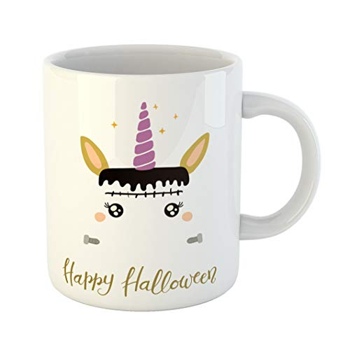 Emvency 11 Ounces Coffee Mug Animal of Cute Funny Frankenstein Unicorn Face Quote Happy Halloween Flat for Children Baby Big Boy White Ceramic Glossy Tea Cup gift ()